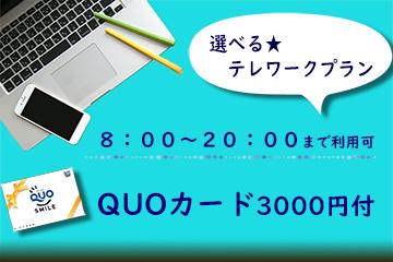 【選べるテレワーク】08:00~20:00まで12時間STAY!ホテル個室で安心。QUOカード3000円付