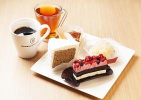 ホテル1階<ボンサルーテカフェ>de ケーキセット(お好きなケーキ+コーヒー)付プラン/素泊り