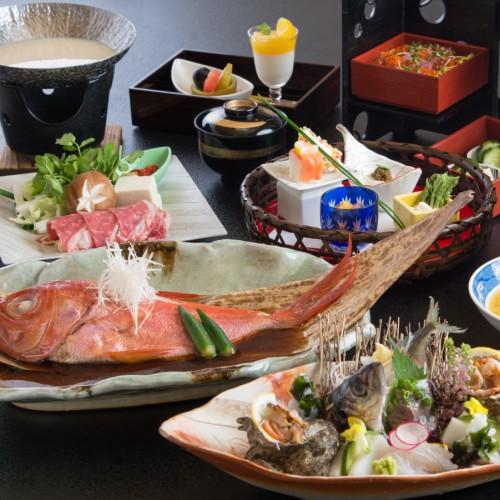 迷ったらコレ【お料理グレードUP】あわび踊り焼き・金目鯛姿煮・国産牛の豆乳しゃぶしゃぶ・海鮮ちらし寿司